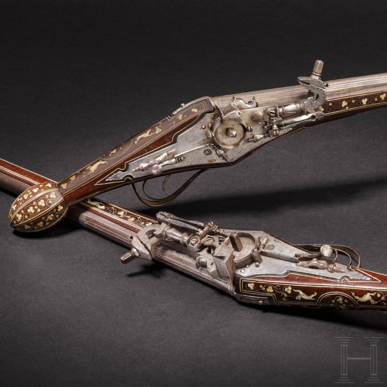 A pair of bone-inlaid, extremely long wheellock pistols, Nuremberg, circa 1600