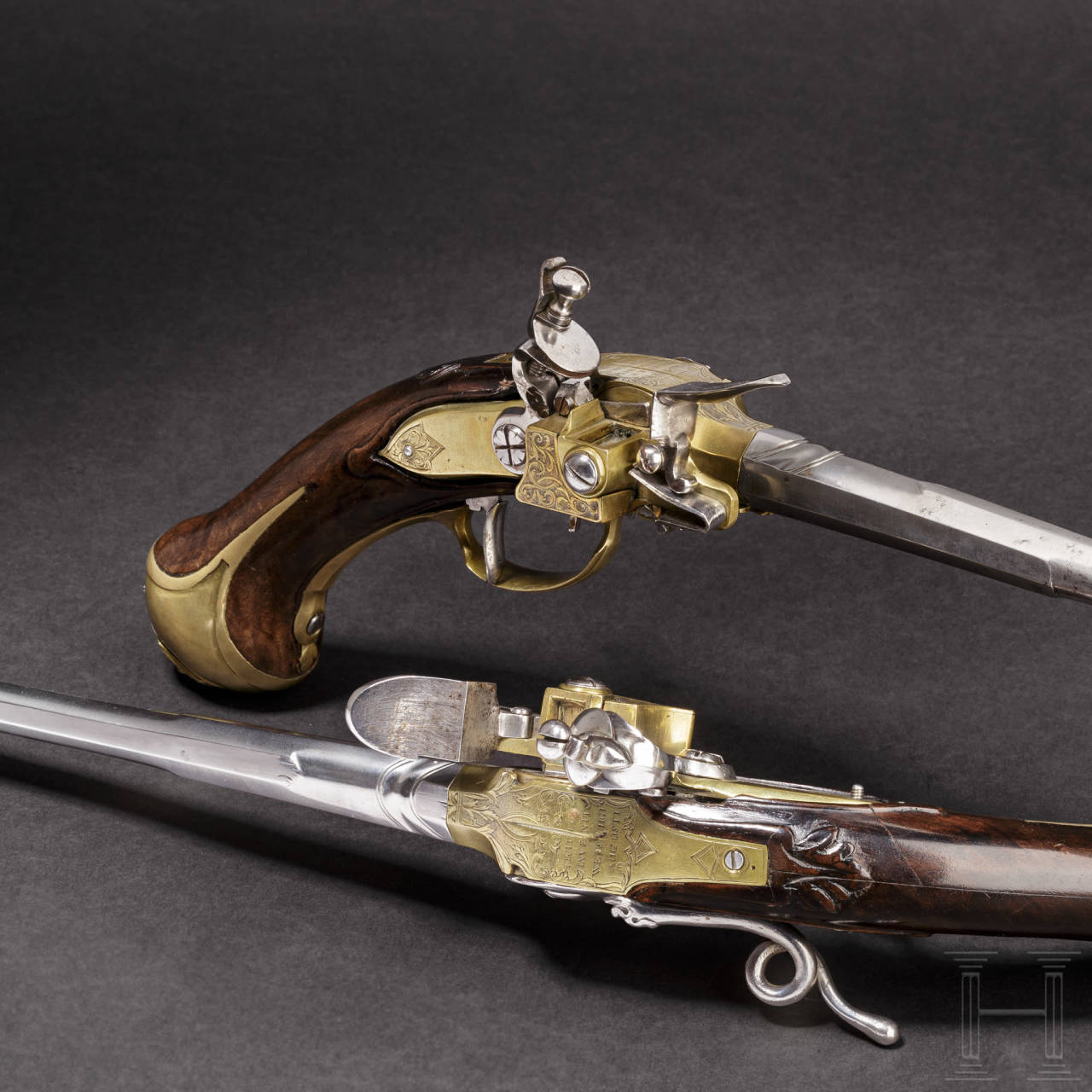 A pair of unusual self-loading flintlock pistols, Emanuel Wetschgin in Augsburg, circa 1710