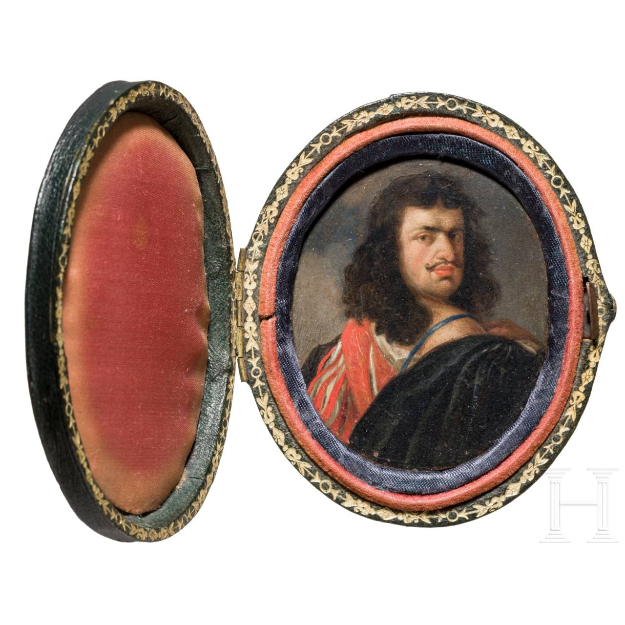 Gonzales Coques (Antwerp 1614 - 1684), a miniature painting, probably a portrait of the artist Van Dyke