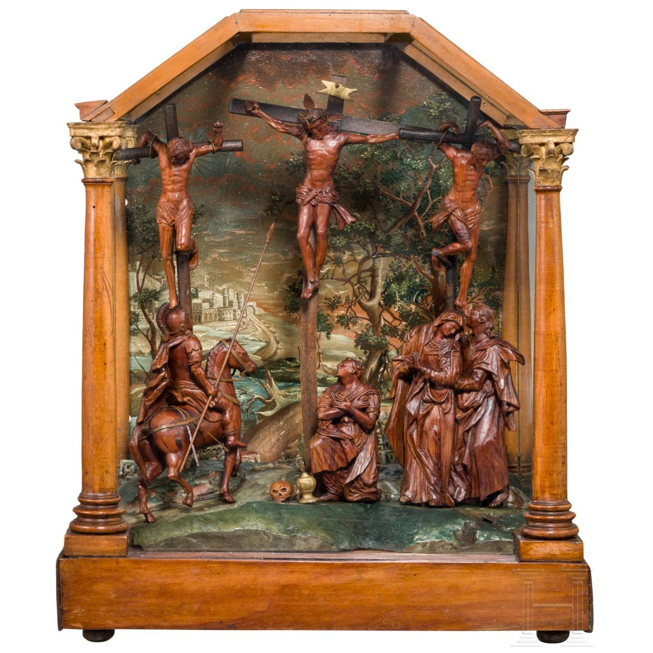 An usual Austrian/Tyrolean (?) carving of Calvary Hill, 17th century