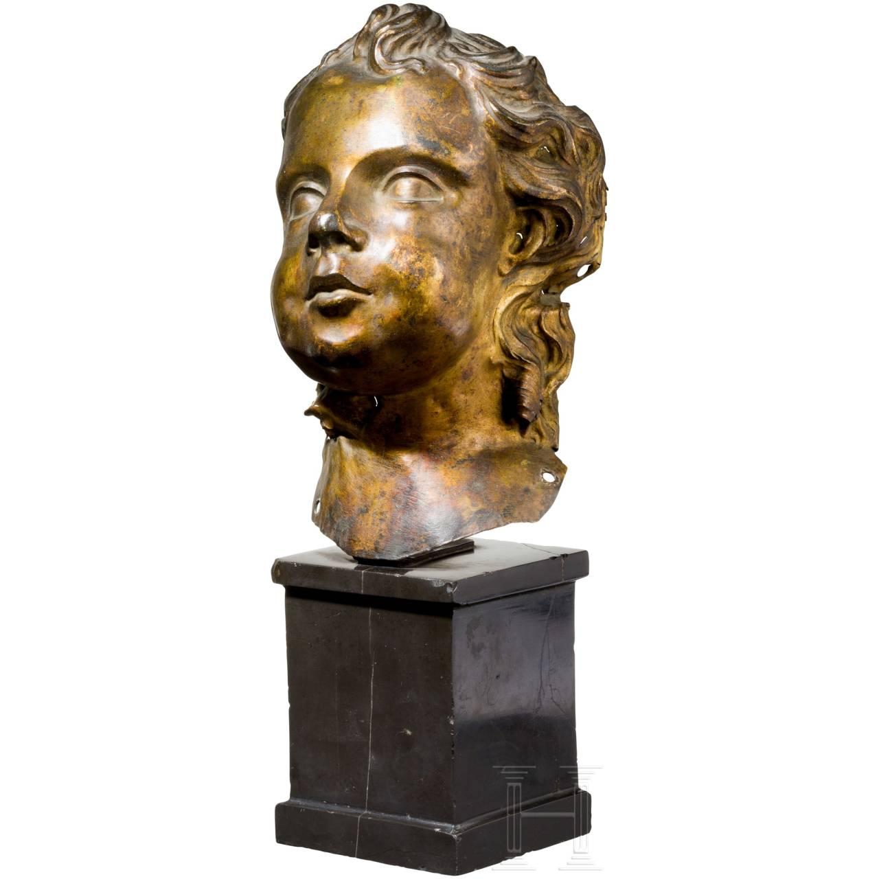 An Italian Baroque head of a putto, 17th century