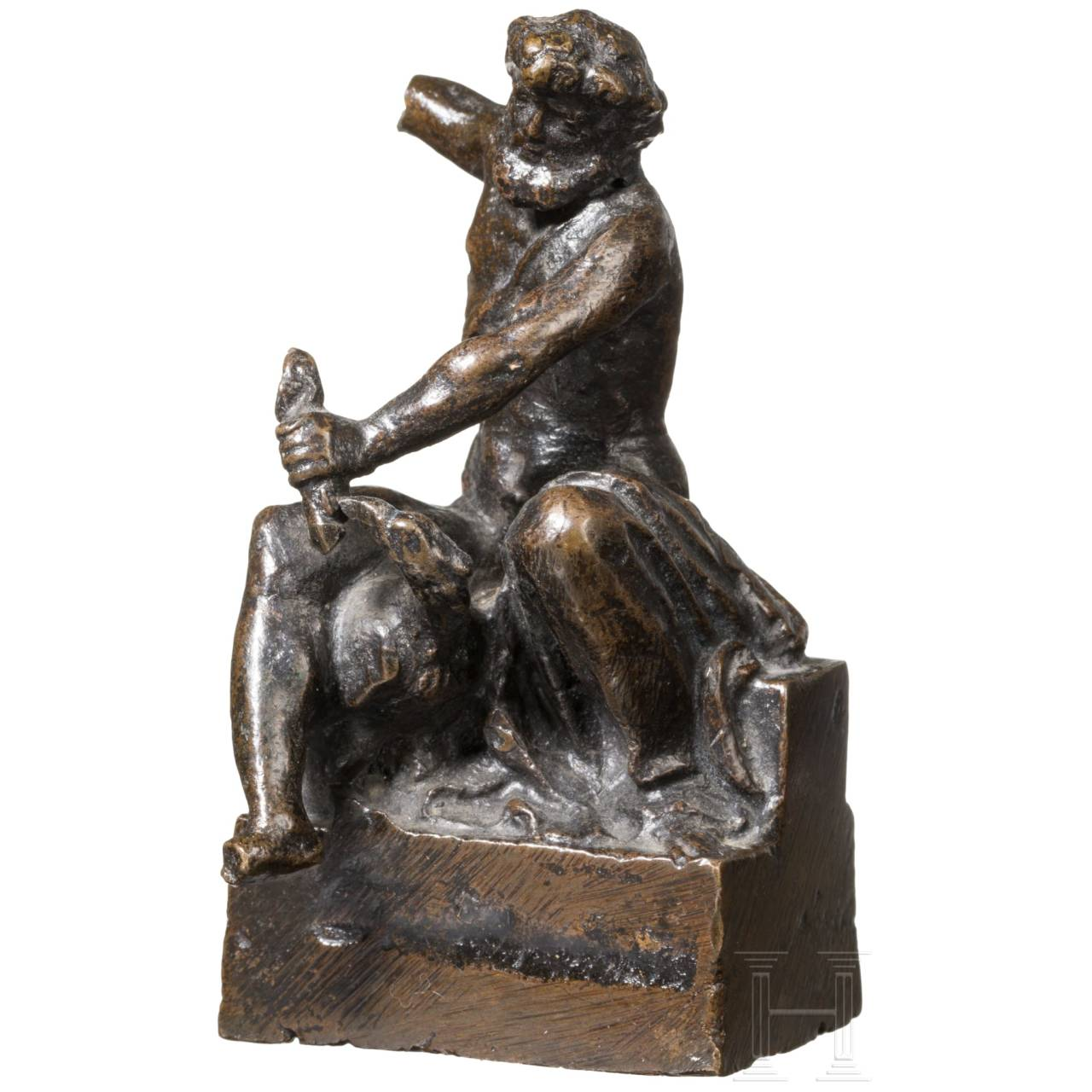 A small Renaissance bronze sculpture of Zeus with eagle, probably Italy, 17th century