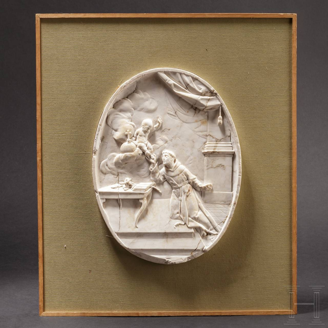 An exquisite Italian marble relief with a depiction of a saint, late 17th century