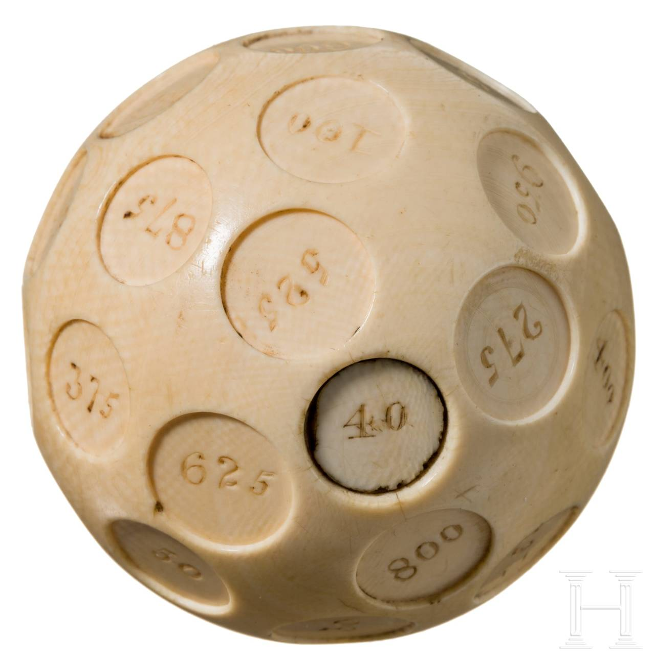 "A large probably English ivory ""puzzle"" ball with Arabic numbers from 1 to 1000, 19th century"