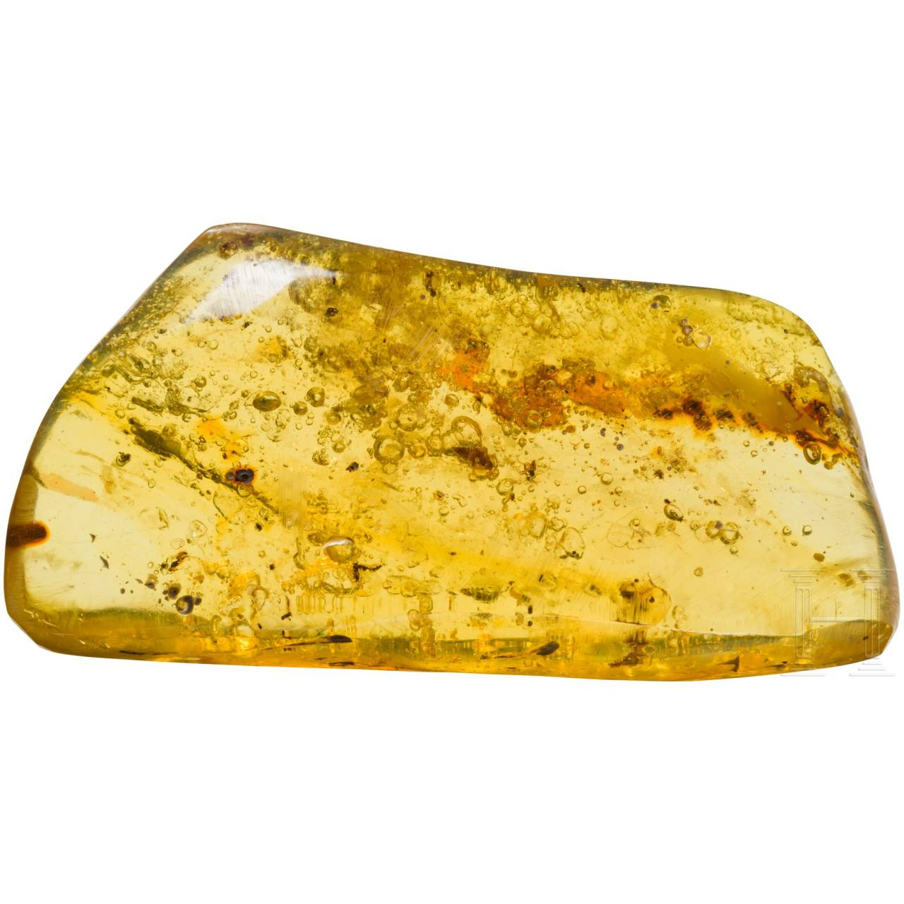 A large piece of amber with inclusions