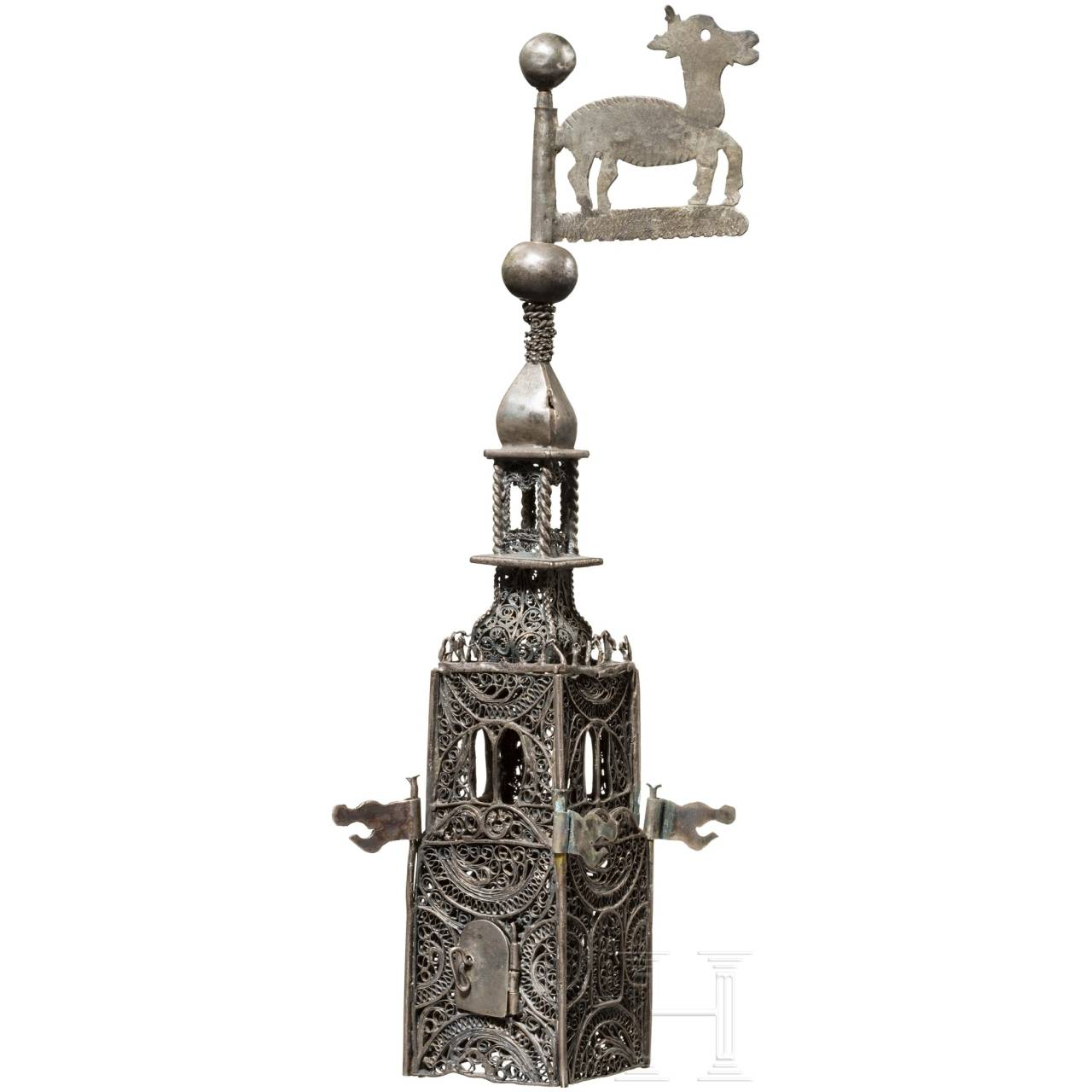 A silver tower of a besamin box, German, frst half of the 19th century