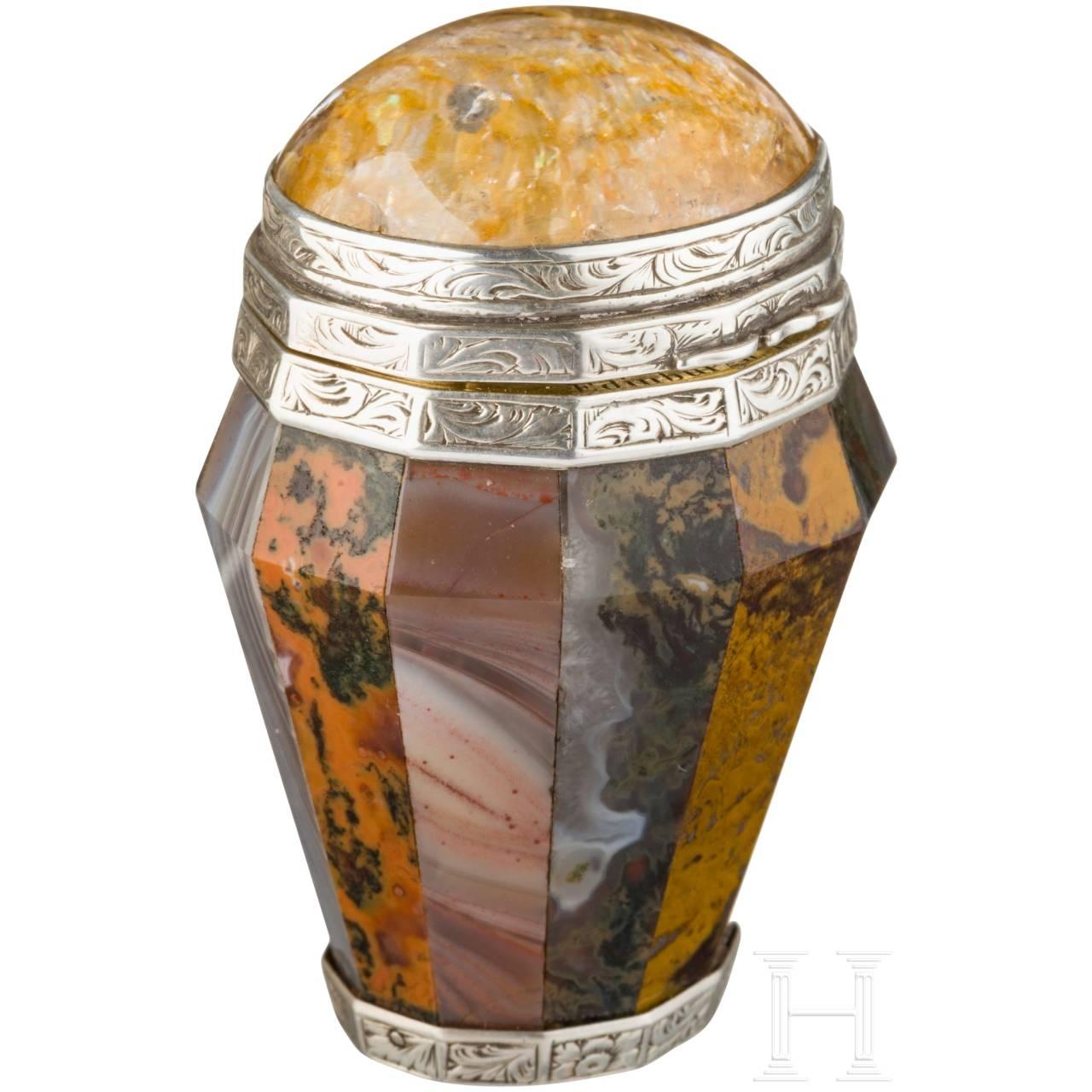 A smell box made of semi-precious stone, Edinburgh, dated 1853