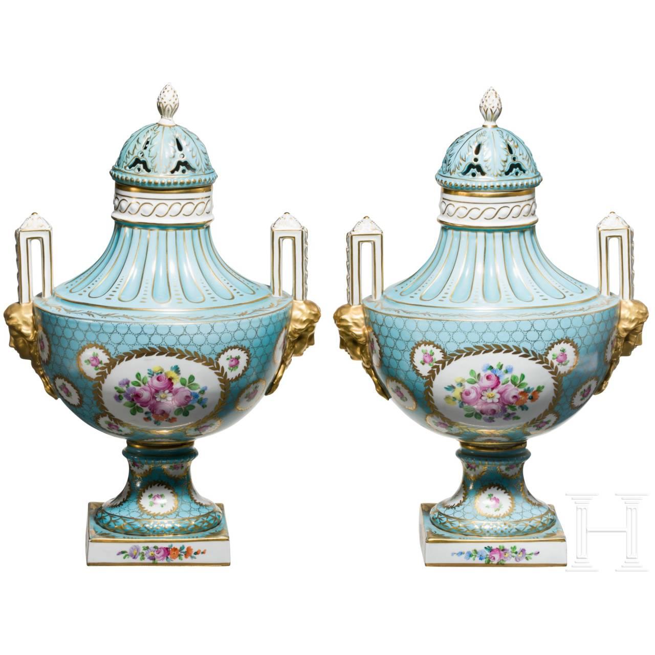 Two presentation vases, porcelain manufacture Dresden, 20th century