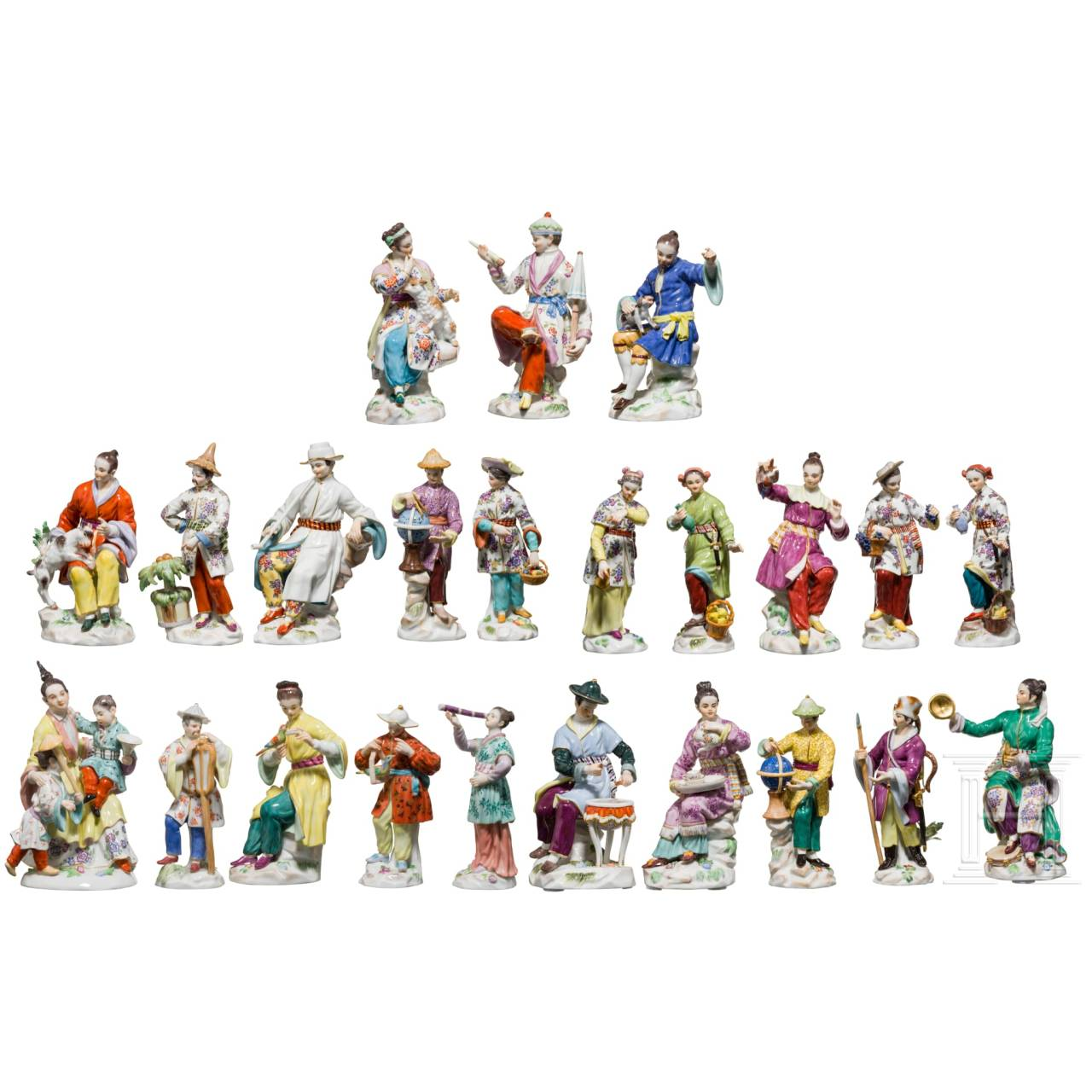 """A large set of 23 """"Japanese"""" figurines from the """"Foreign nations"""" series, Meissen, 20th century, the model by Friedrich Elias Meyer (*1724 Erfurt - †1785 Berlin)"""