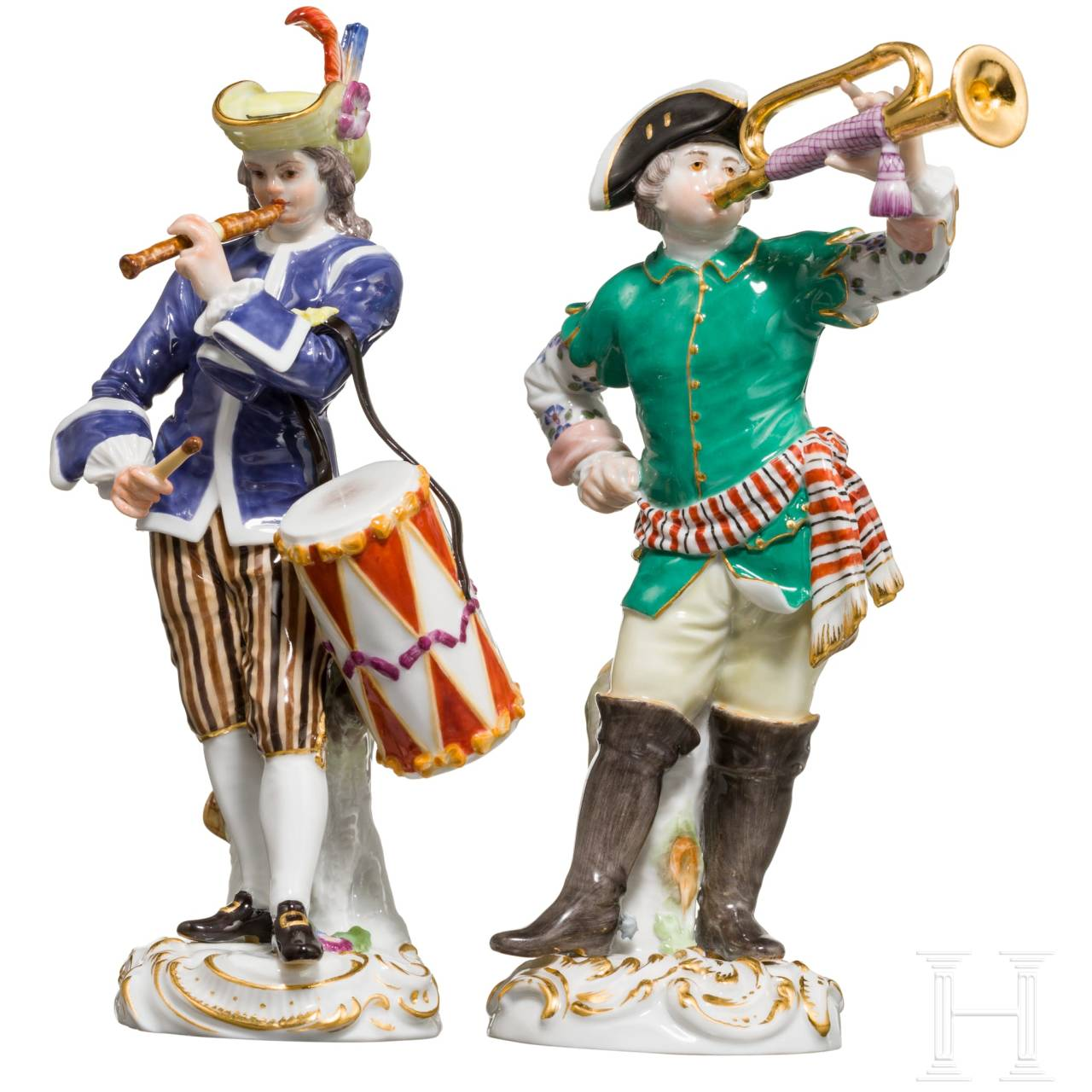 "A pair of fine polychromely painted porcelain figures from the ""Gallant band"" series, Meissen, late 19th/early 20th century"