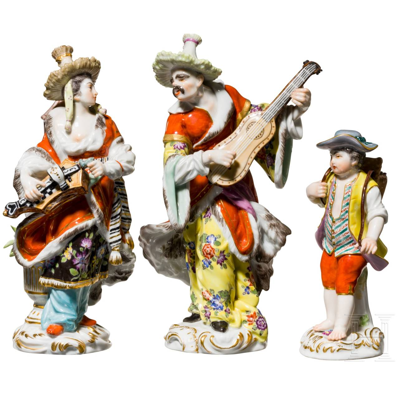 Three figures of the porcelain manufactory Meissen, 20th century