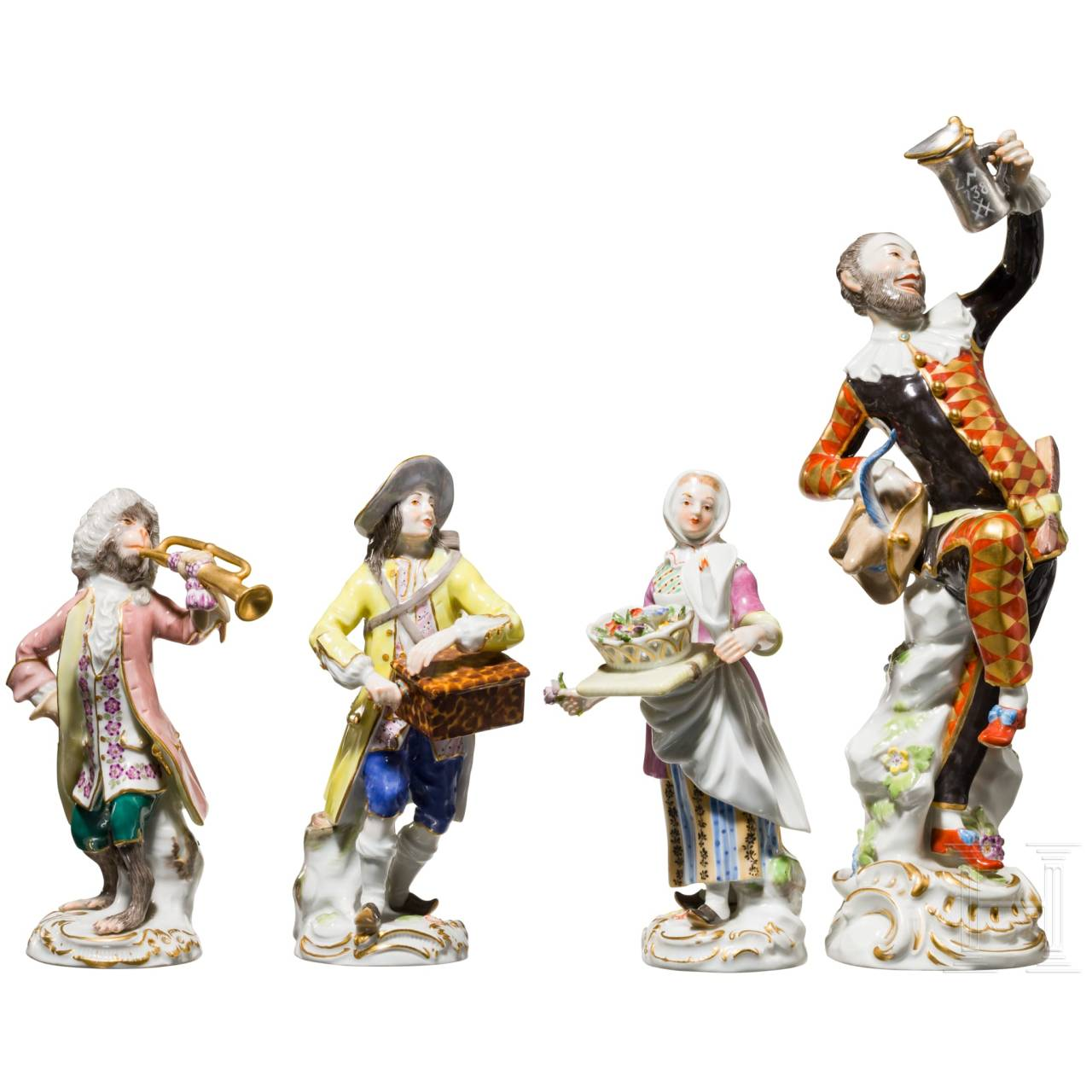 Four figures of the Meissen porcelain manufactory, 20th century