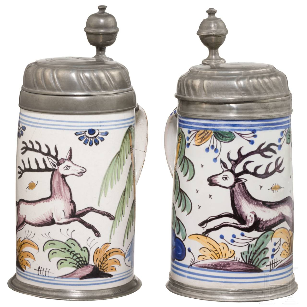 A pair of fayence tankards, Bayreuth, 2nd half of the 18th century