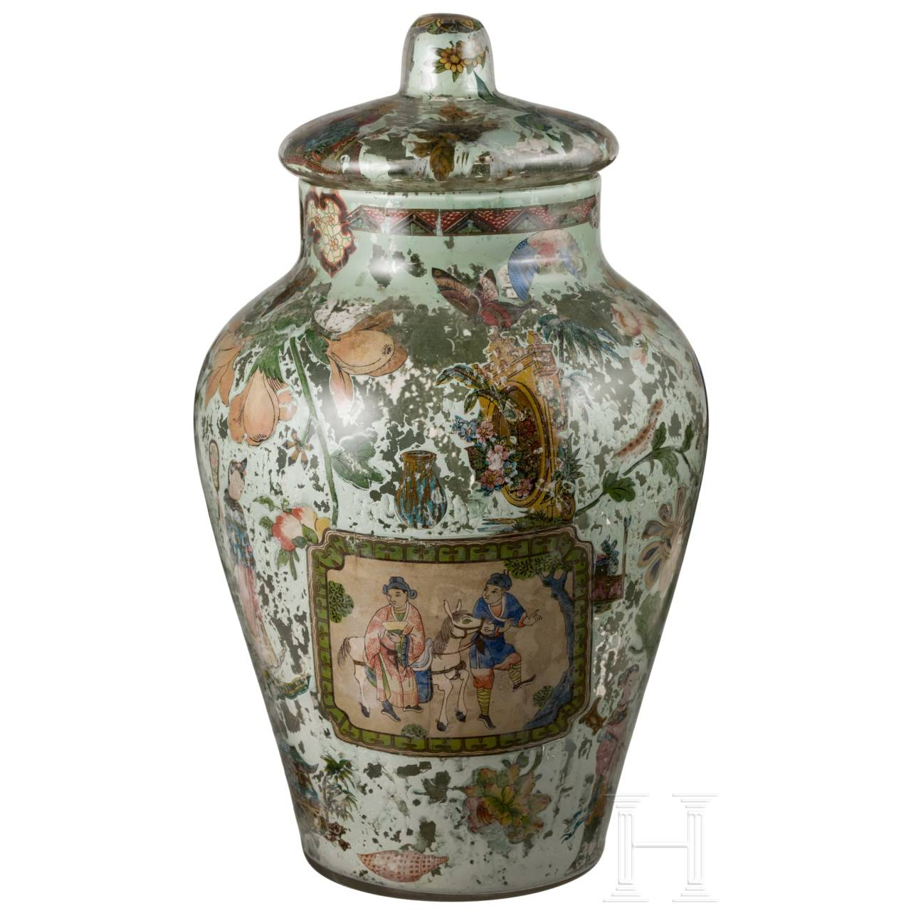 An Italian neoclassical Arte Povera glass vase with Chinoiserie, circa 1800
