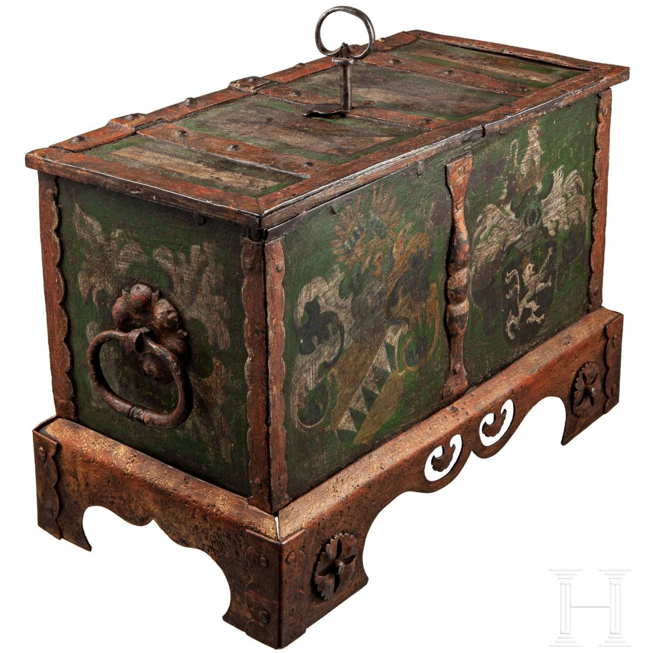 A large and painted Nurembergian iron casket, circa 1530/40
