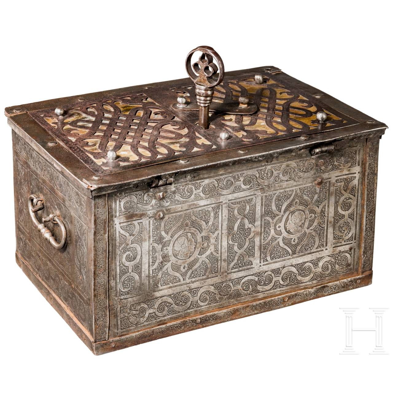 A large Nurembergian iron casket with etched decorations, circa 1570