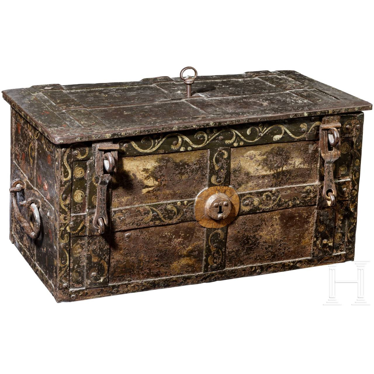 A southern German Baroque armada chest with paintwork, 17th century
