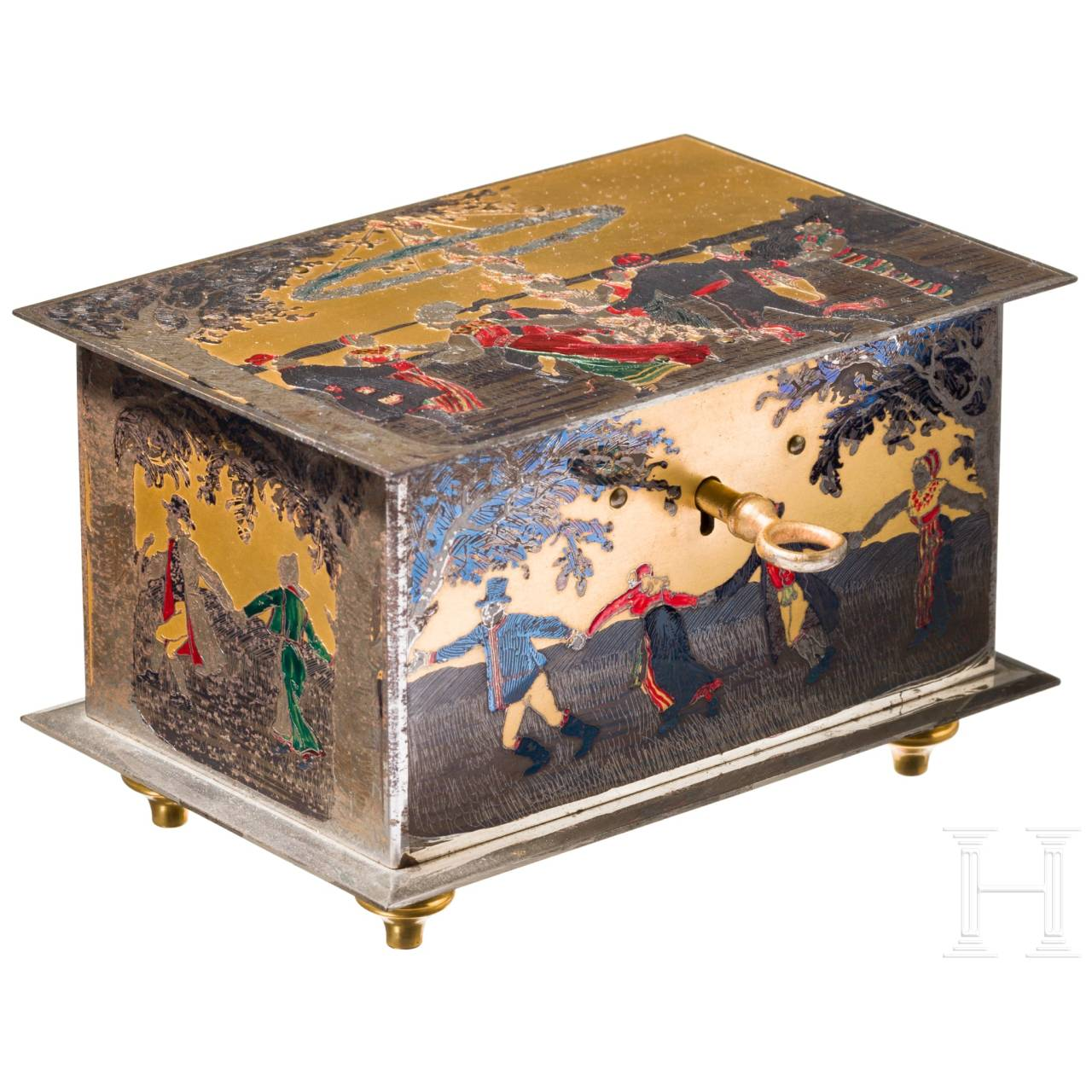 A fine Swedish iron Art Deco casket, polychomely enamelled, chromed and gilded, circa 19200