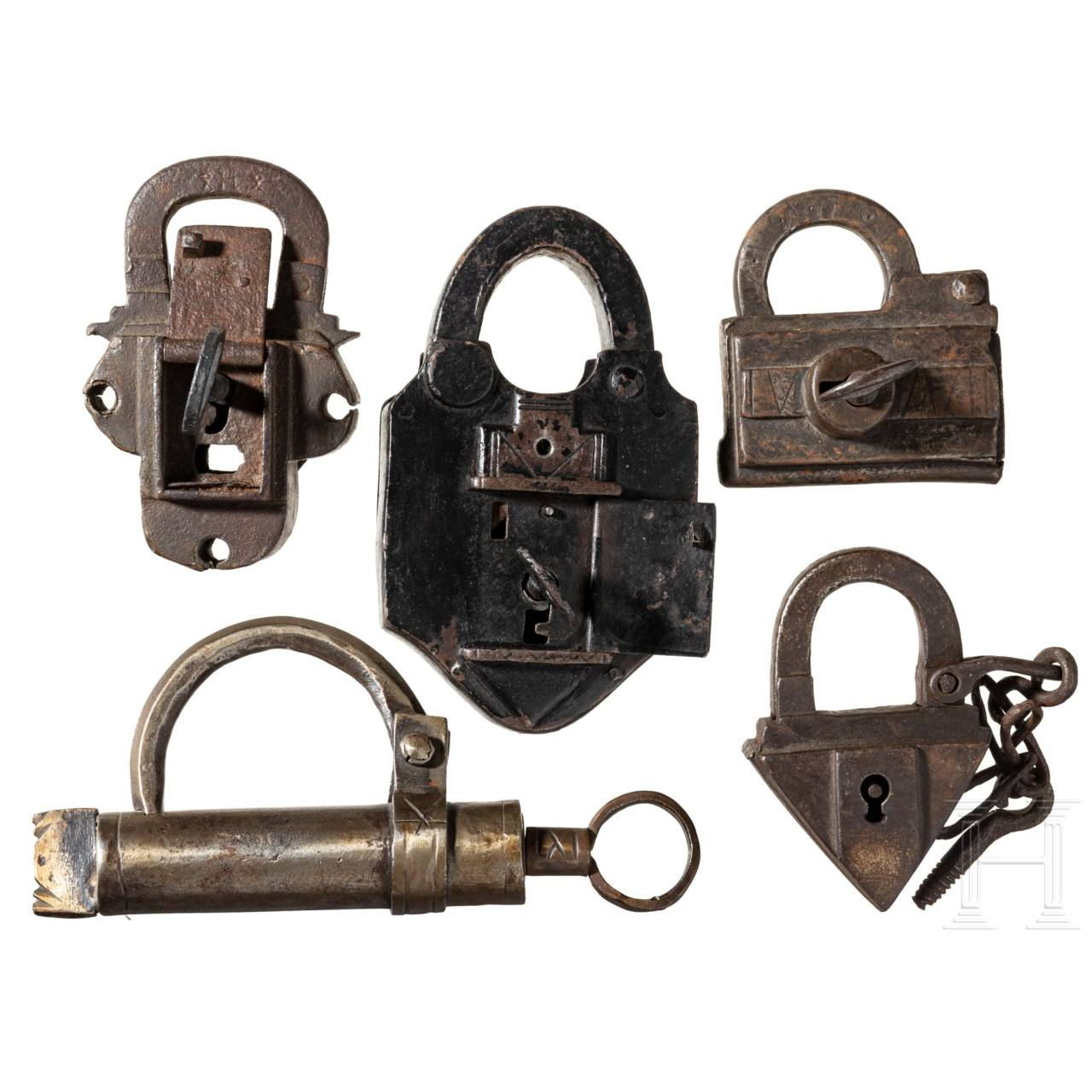 Five German padlocks, 17th to early-19th century