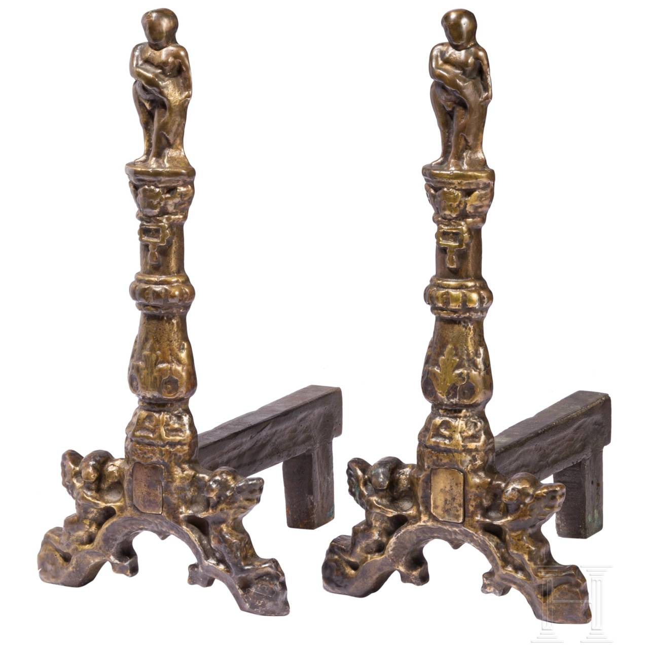 A pair of German Renaissance andirons, mid-16th century