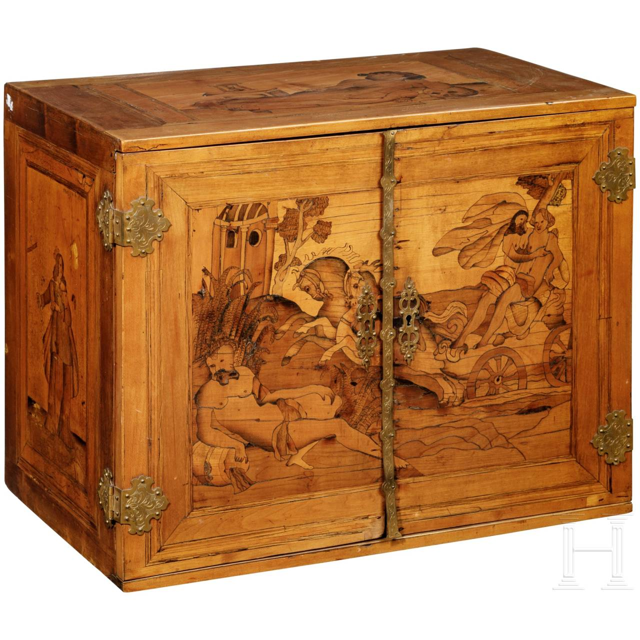 A South German cabinet case with marquetry decoration, probably Innsbruck, circa 1620