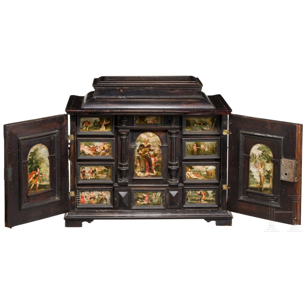 A Flemish Baroque cabinet casket with miniature paintings, 2nd half of the 17th century