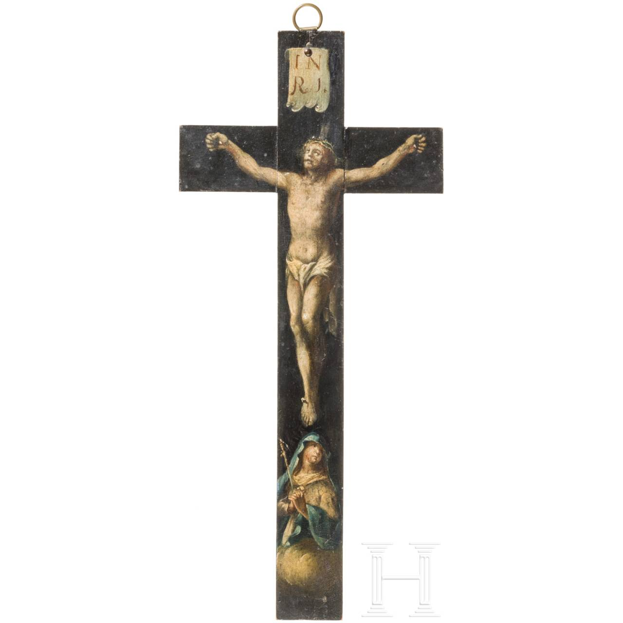 A southern German painted crucifix, circa 1700