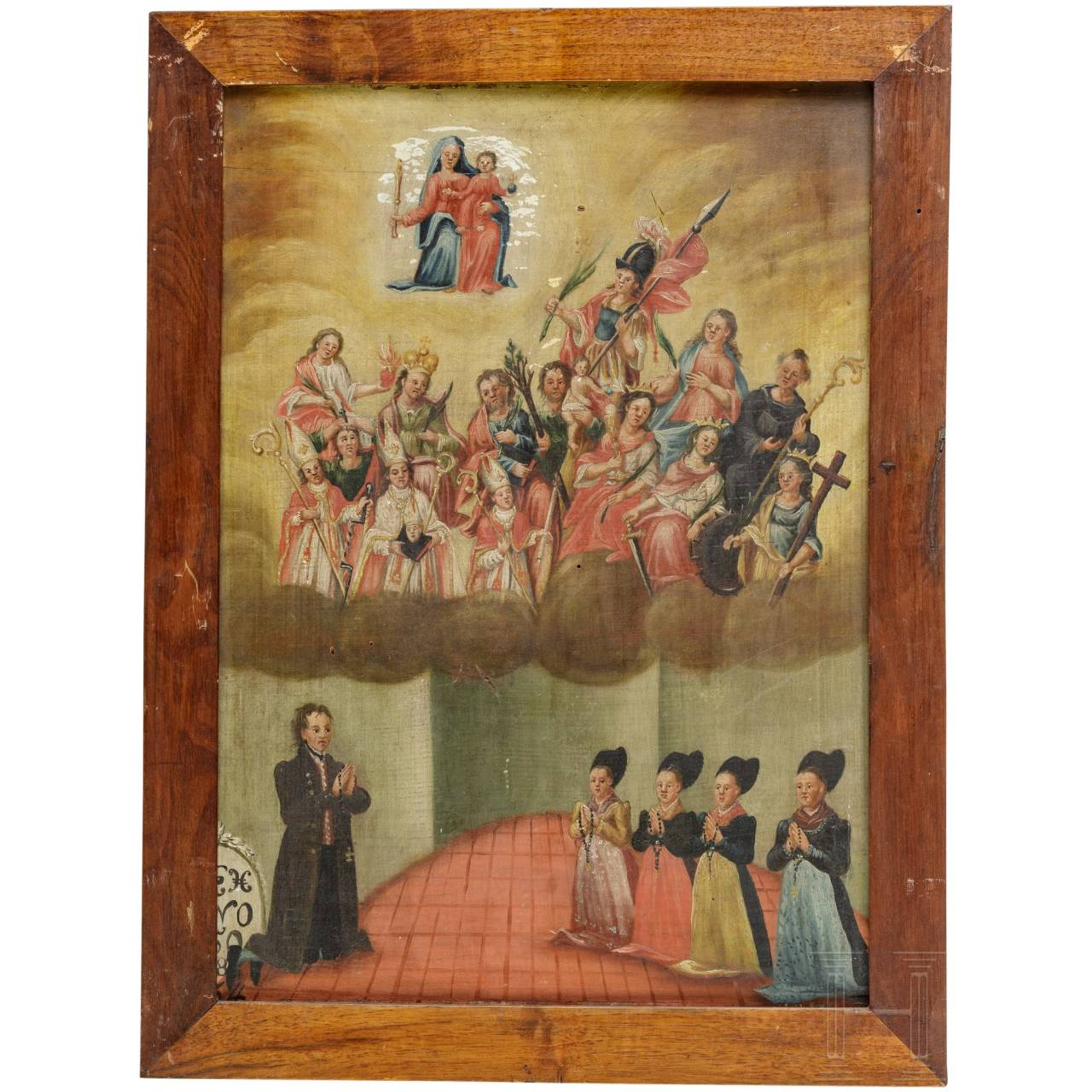 An Ex Voto painting with fourteen saints, German, 18th century