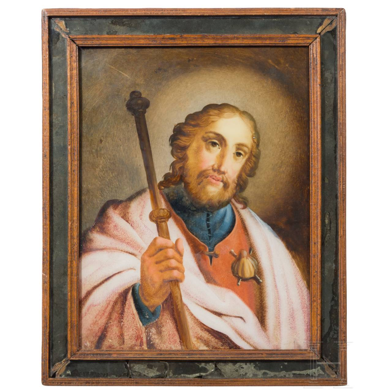 A reverse glass painting of St. James, Augsburg, 18th century