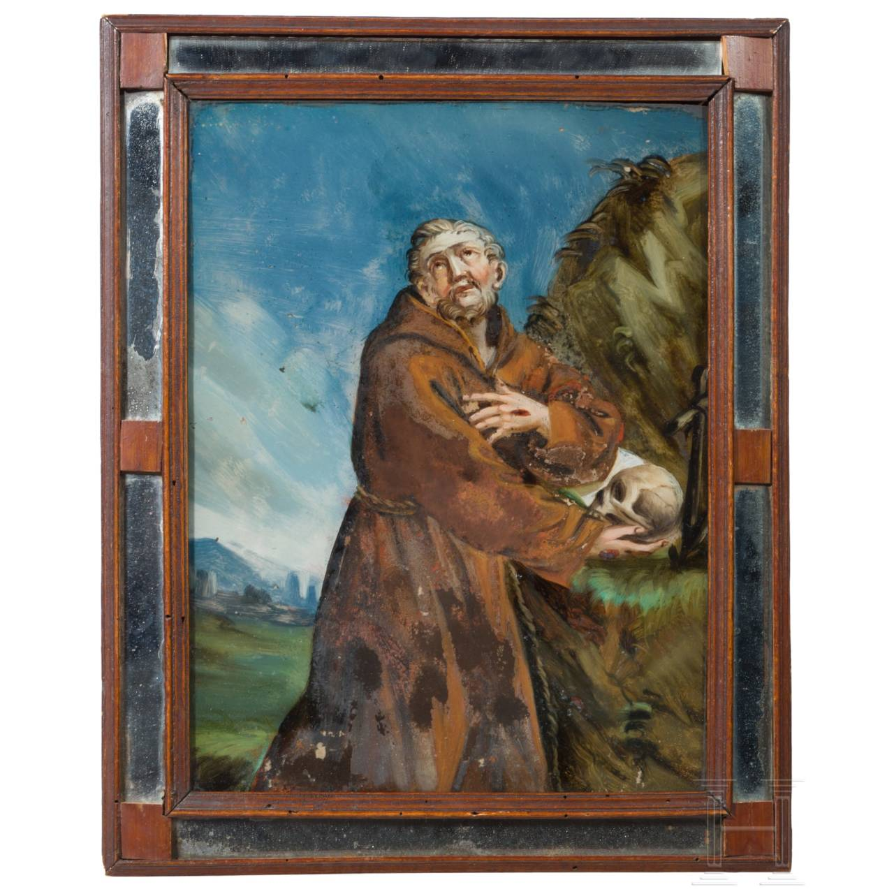 A reverse glass painting with St. Francis, Augsburg, 18th century