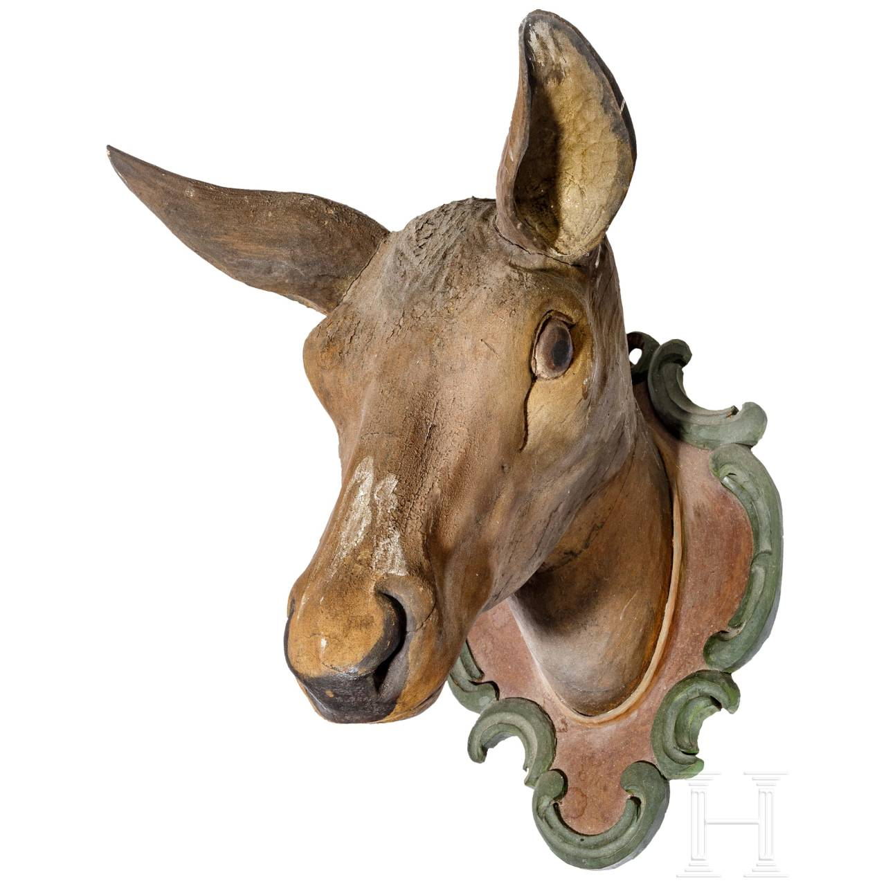 A carved and polychrome painted head of a deer, Southern German, 19th ct.
