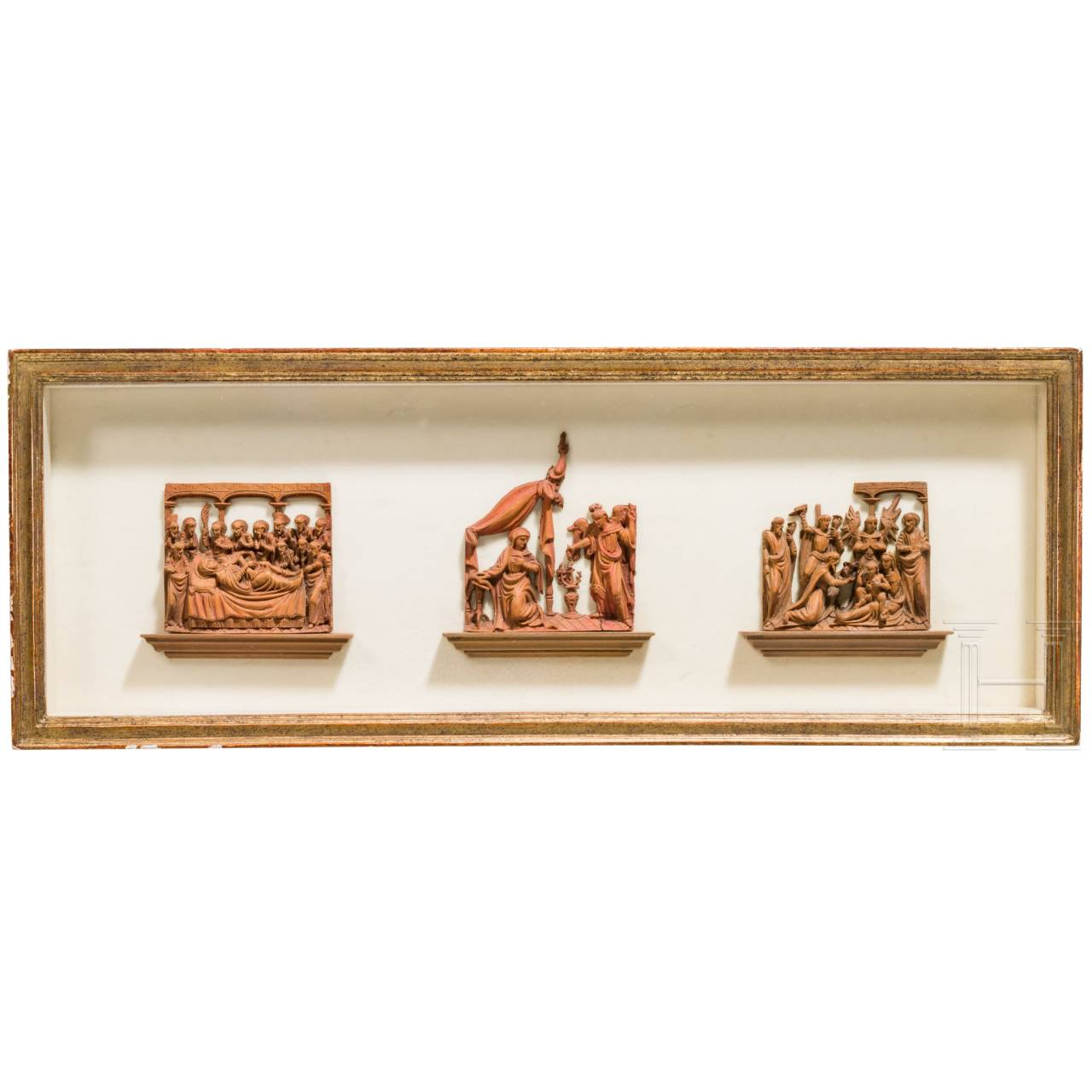 Three Flemish or French microcarvings showing scenes from the life of Virgin Mary, circa 1600