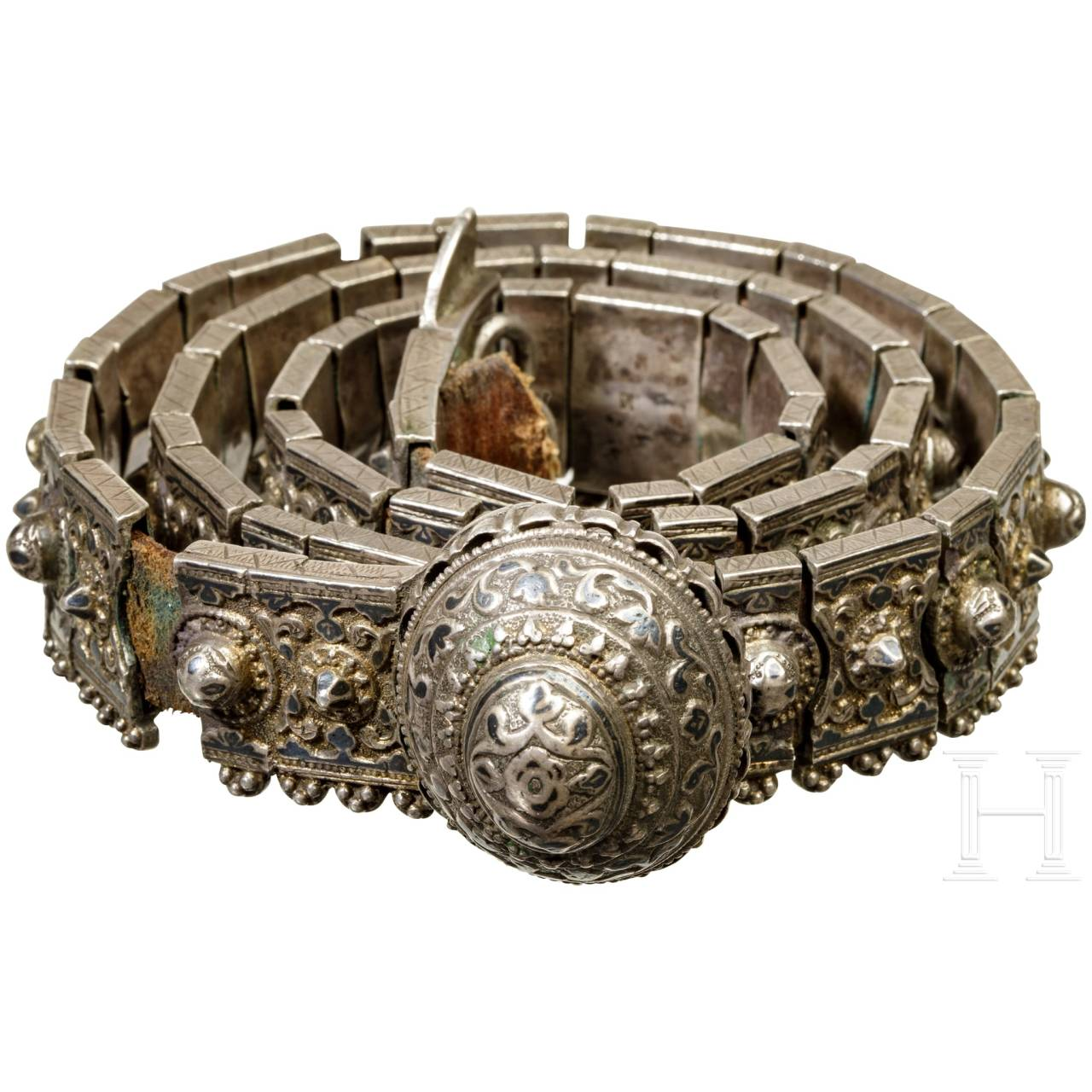 A chiselled and nielloed silver belt, Caucasus, around 1900