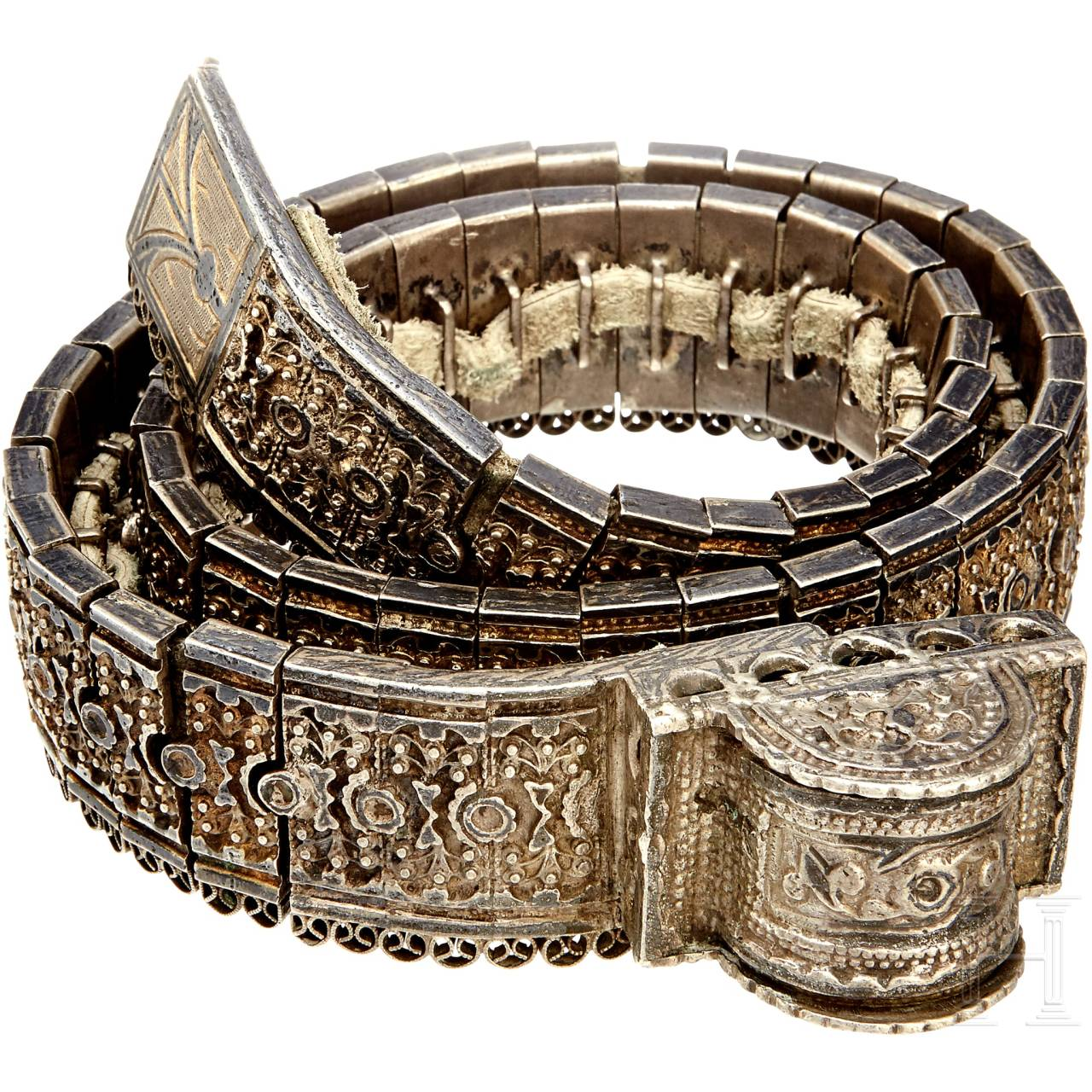A silver Caucasian jewelry belt, 2nd half of the 19th century