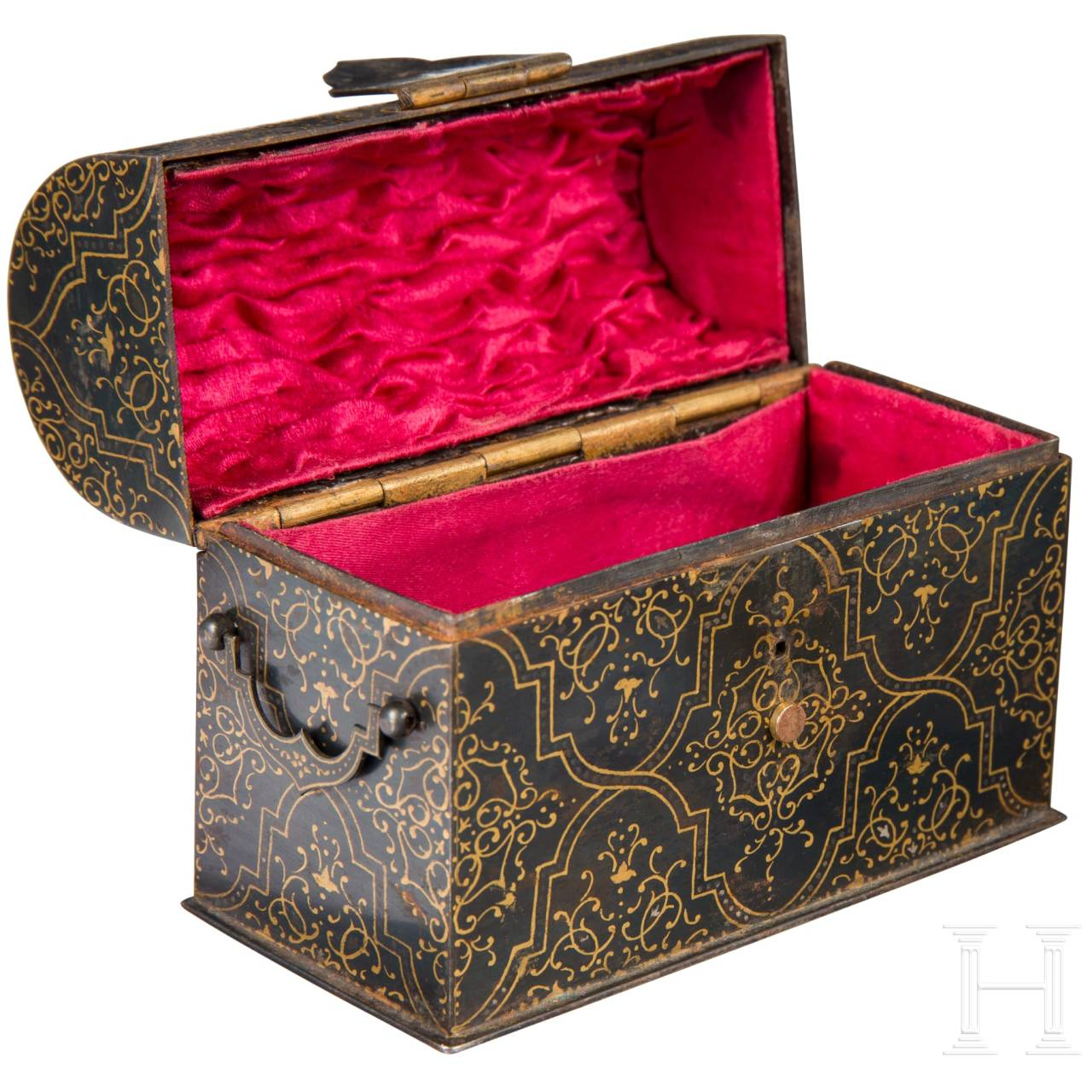 A fine darkly patinated and gold-painted Indian iron casket in the shape of a chest, 19th century