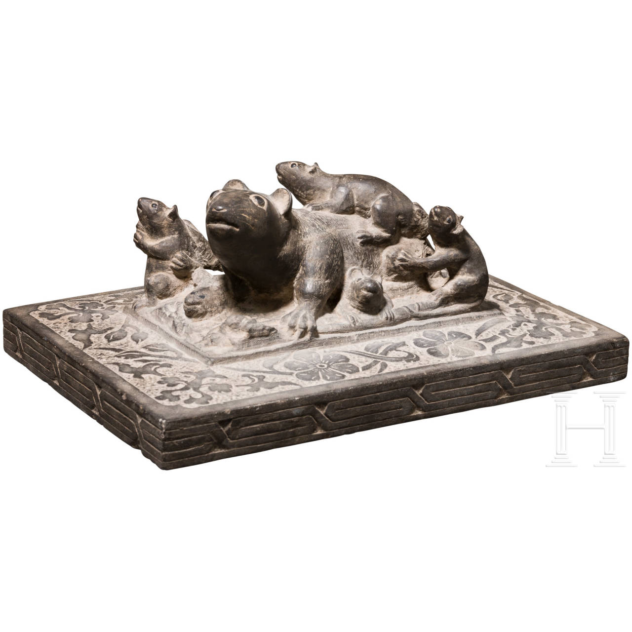 An unusual slate sculpture of a rat family, probably Rajasthan/India, ca. 1900