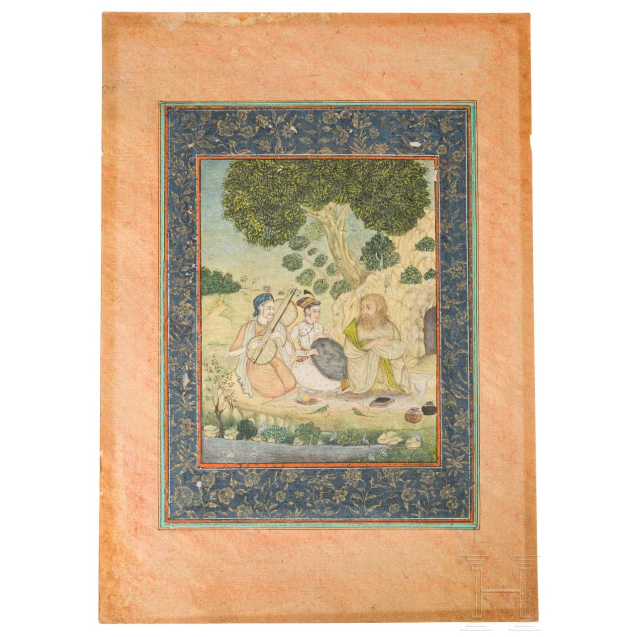 A gouache on paper of a Mogul, India, 1st half of 19th century