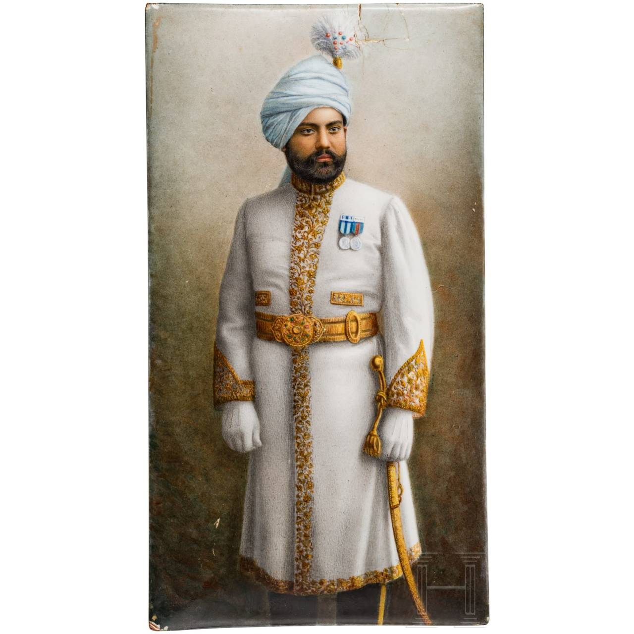 An enamelled portrait of a Maharaja on copper plate, France, early 20th century, maker's name in ink on the back