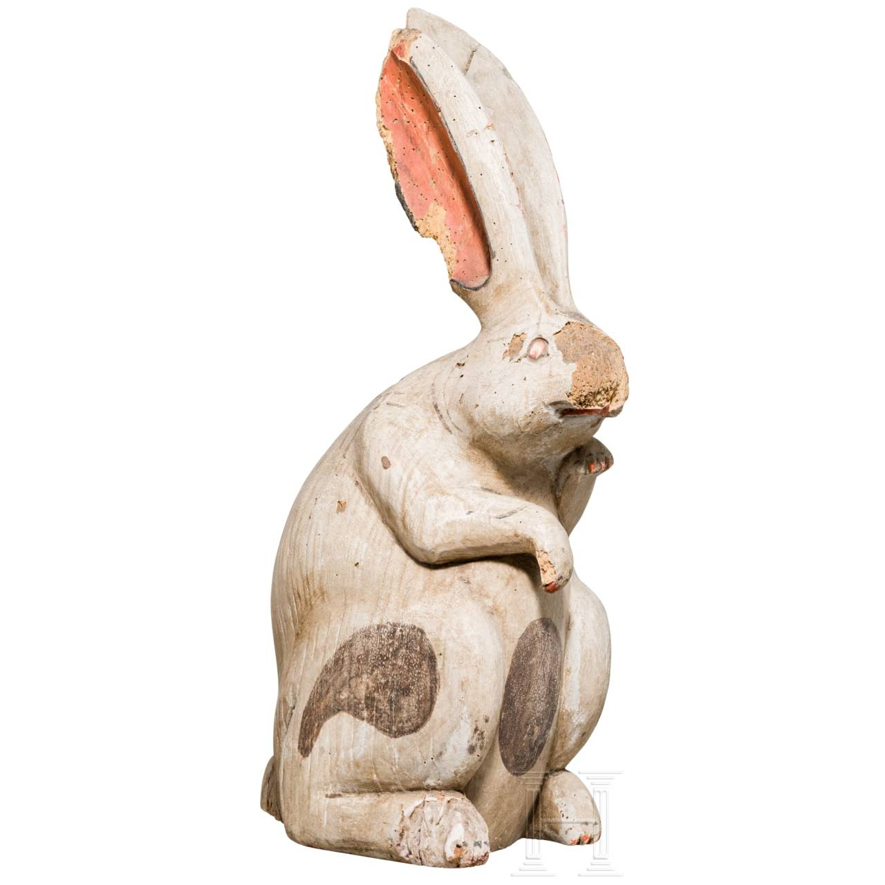 """A rare Japanese or Chinese carved and painted wood sulpture of a """"moon rabbit"""", 19th century"""