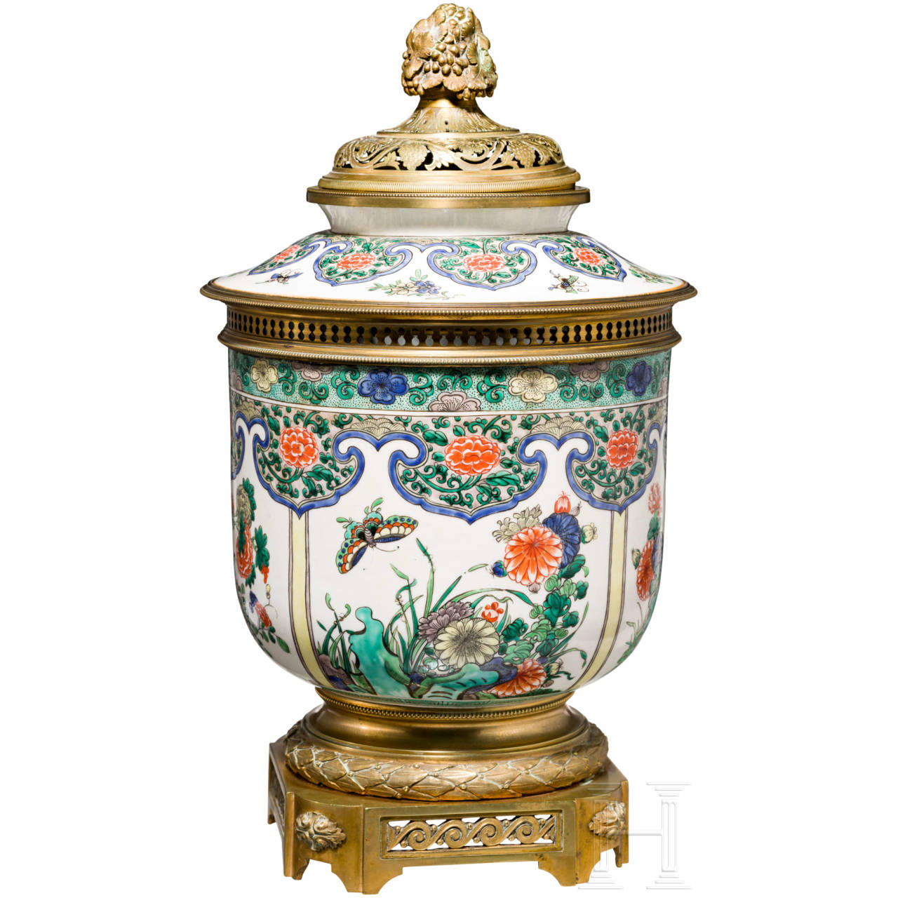 A fine Japanese/French lidded vase, 19th century