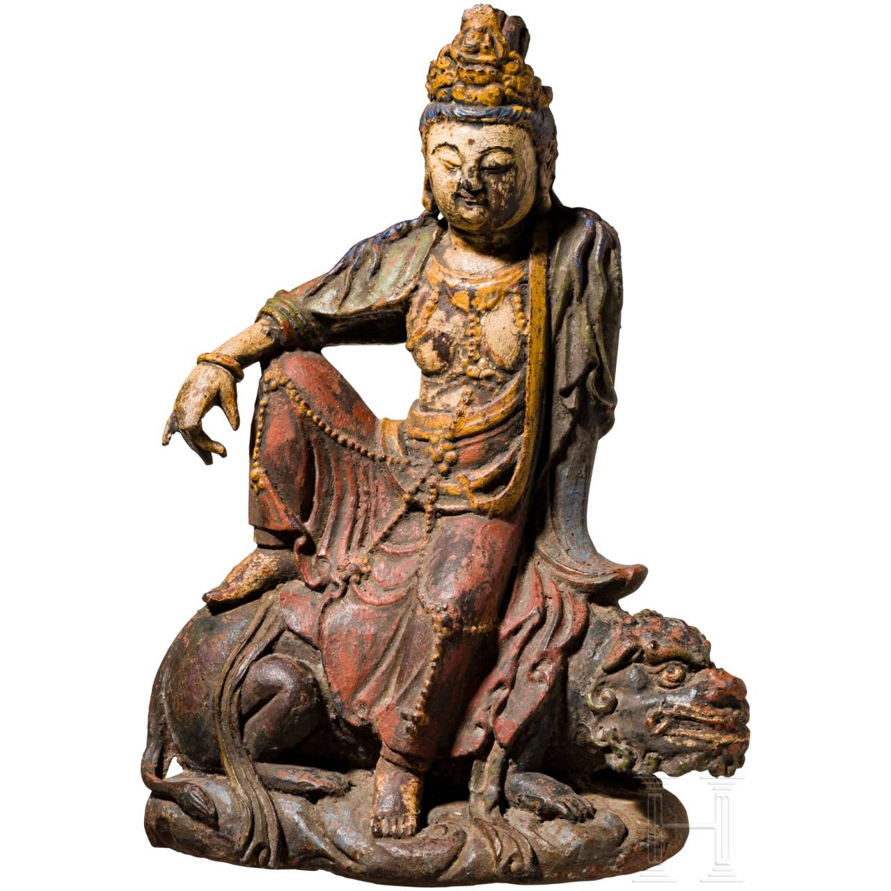 A Chinese cast iron statue of the bodhisattva Guanyin, Ming dynasty