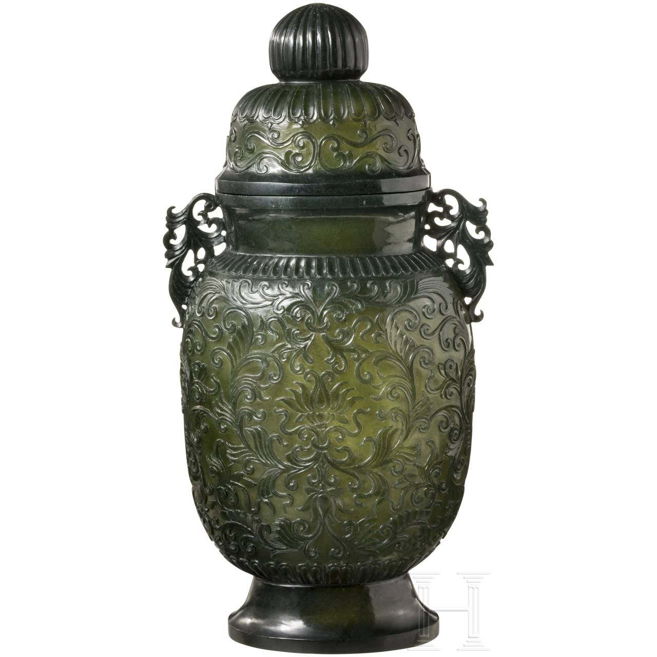 A large Chinese vase in chiselled jade, 19th century