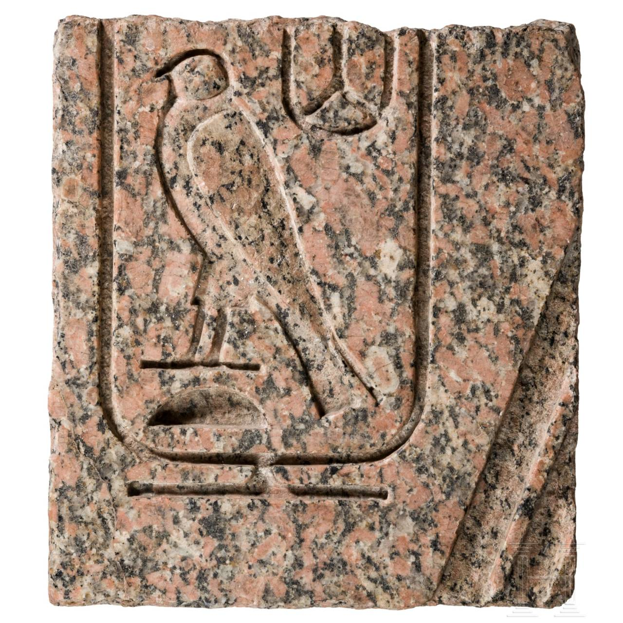A large Egyptian fragment of a stele with hieroglyphics, 2nd - 1st millenium B.C.