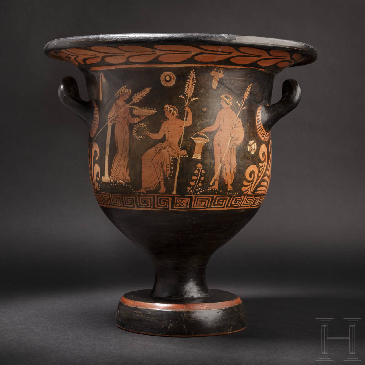 A Lower Italian large, red-figured krater, Apulia, 5th century B.C.