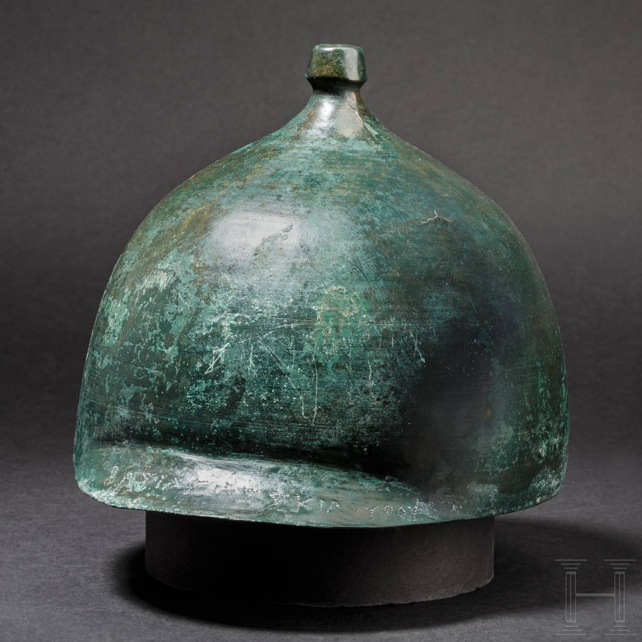 A bronze helmet of the Montefortino type inscribed with the name of the Scythian king Skilouros, circa 140/130 – 114/113 B.C.