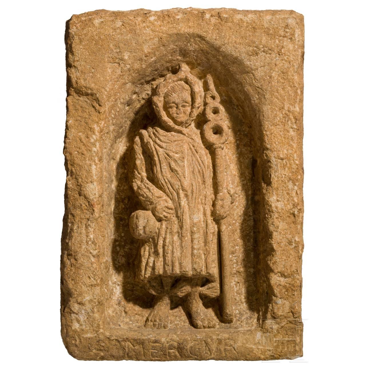 A provincial-Roman Mercury-votive relief, 2nd – 3rd century