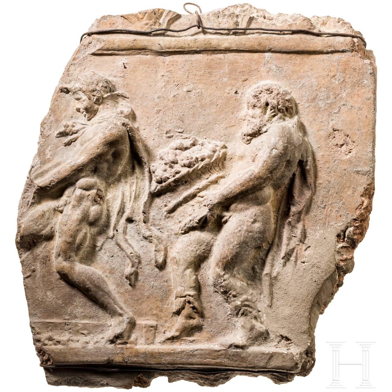 A Roman Campana relief with Bacchian scene, 1st - 2nd century.