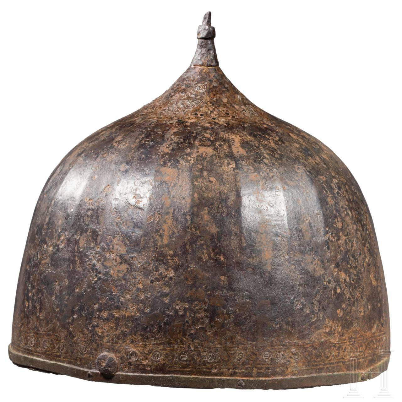 A Russian iron helmet with silver inlays, 15th - 16th century