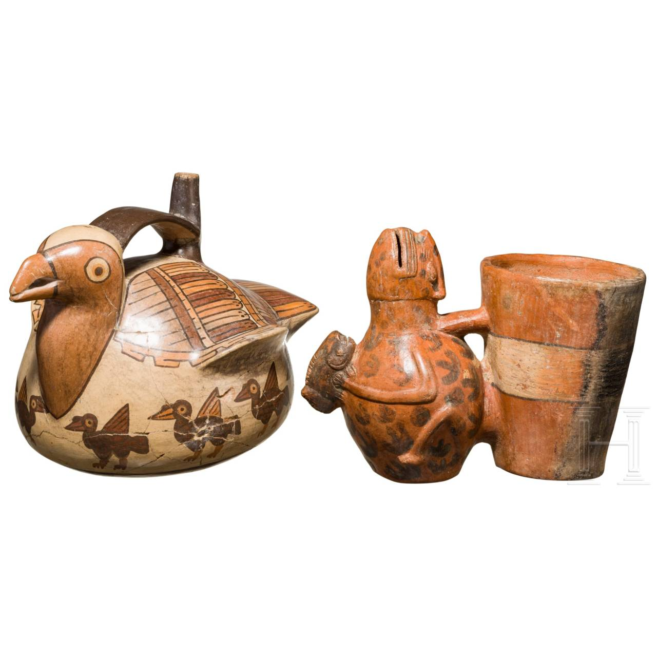 Two Peruvian ritual vessels, Nazca and Huari, 1st - 8th and 8th - 12th century A.D.