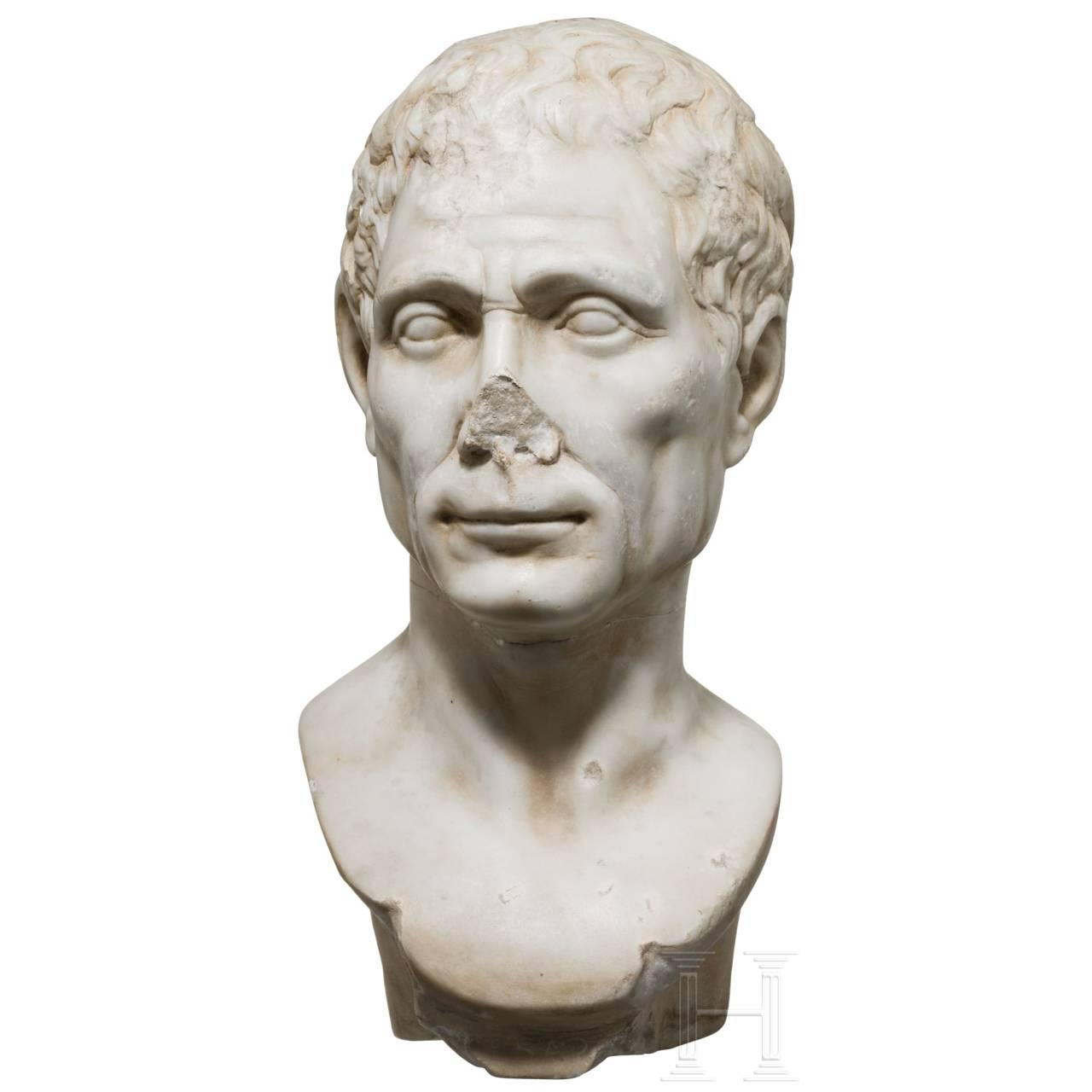 A large Italian marble head of Julius Caesar, 19th century